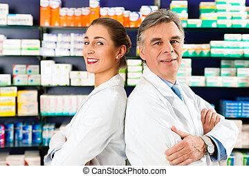equipe, Farmacêuticos, farmácia