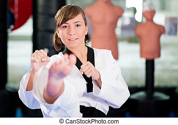Martial Arts sport training in gym - Woman in martial art...