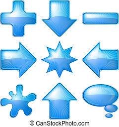 Icons buttons blue, set