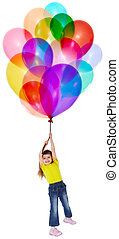Little girl is flying on bunch of balloons