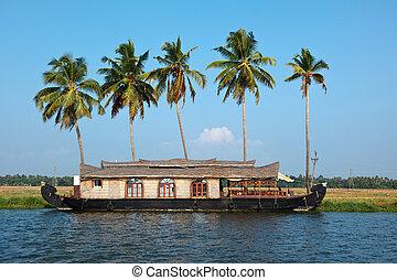 Houseboat on Kerala backwaters, India - Traditional...