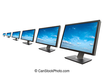 Computer monitor isolated on white - Row of computer...