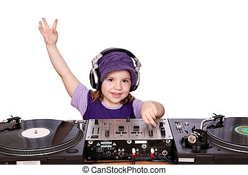 little girl dj play music