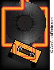 Retro Party Background - Audio Tape and Vinyl Record on Dark...