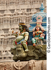 Sculptures on Hindu temple tower - Sculptures on Hindu...
