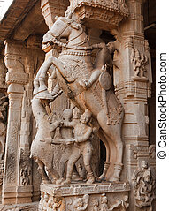Statues in Hindu temple. Sri Ranganathaswamy Temple....