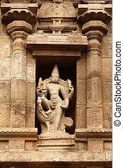 Bas reliefes in Hindu temple. Arulmigu Arunachaleswarar Temple. Tiruvannamalai, Tamil Nadu, India