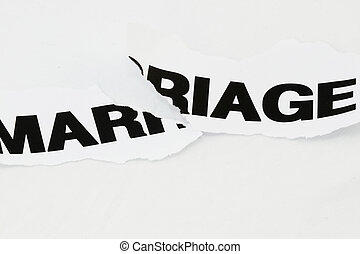 Marriage torn apart - Word Marriage torn apart concept for...