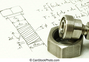 Machine design and calculation of bolt thread and nut.