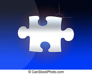 Jigsaw piece - Jigsaw puzzle  in a gradient blue background.