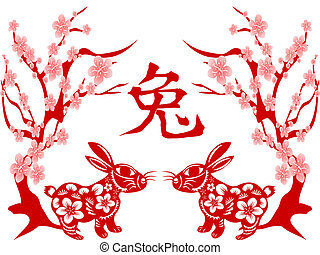 Papercut of Rabbit Lunar year - Rabbit Papercut for chinese...