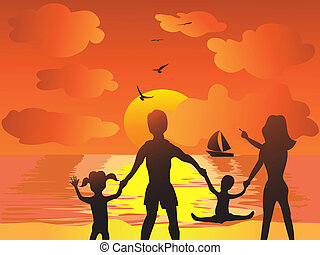 family in the sunset beach - joyfu family in the sunset...