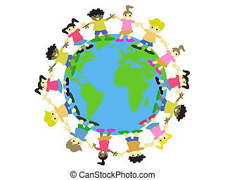 WORLD KIDS - multicultural kids surrounding on the earth
