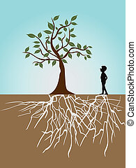 tree life - a guy and tree with roots