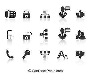 black Communication icons for web design