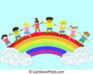 kids on the rainbow