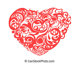 red pattern heart