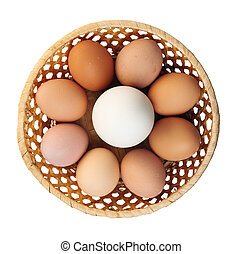 Goose egg and egg in a basket. The top view