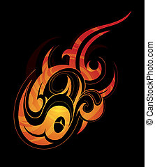 Fire flame design element - Decorative artwork with creative...