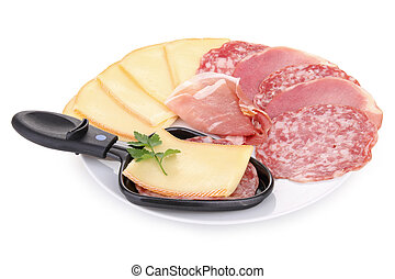 plate of cheese and delicatesse