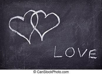 love hearts school chalkboard