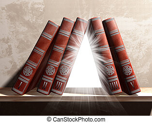 Mysterious bookshelf - Illustration of magical books on a...