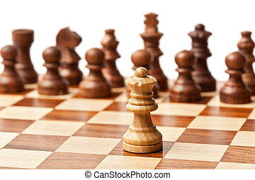 One queen agains all - wooden chess