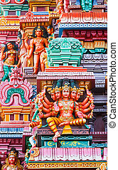 Brahma image. Sculptures on Hindu temple gopura (tower)....