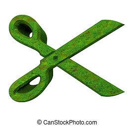 Scissor in green grass - 3d made