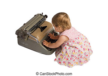 Baby Girl with Typewriter