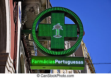 Pharmacy sign - Portugal City Pharmacy sign symbol city