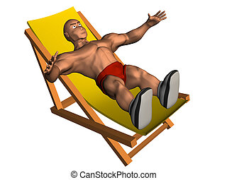 Person on chaise Longue - 3d render of person on chaise...