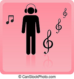 Icon of the person in ear-phones listening to music
