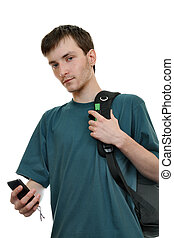 A student with a smartphone - A young man with a backpack...