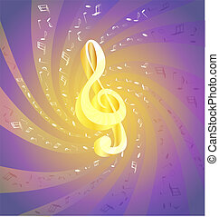 art music - on an abstract background of flying music big...