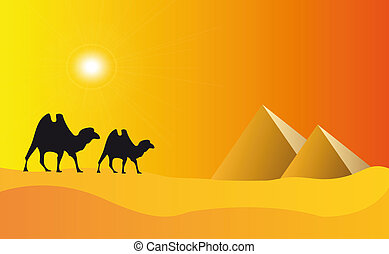 egypt pyramids and blue sky - illustration of pyramids in...