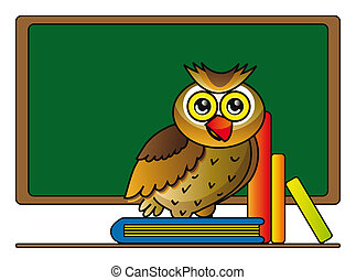 owl with books - illustration of cartoon owl with books in...