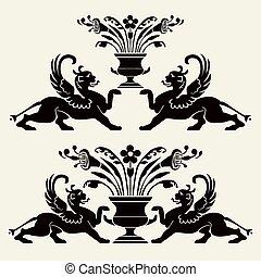 Set of heraldic ornaments