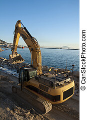 Reclaiming Land in Gibraltar 1 - A JCB digger working on...