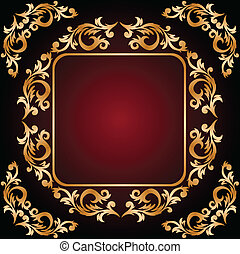 vintage frame from the golden ornament on dark red...