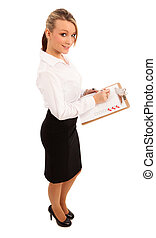 Business Woman With Checklist - Business Woman in white...