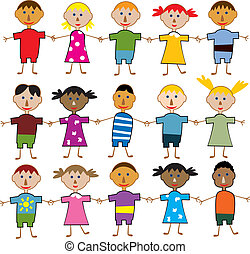 young children - vector rows of young children