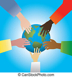 hands touching earth - vector illustration of five hands...