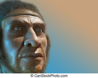 Recreation of hominid in a museum