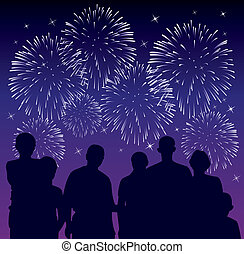 people watching fireworks - vector illustration of people...