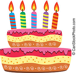 birthday cake - vector birthday cake with burning candles