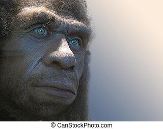 recreación, cara, neandertal