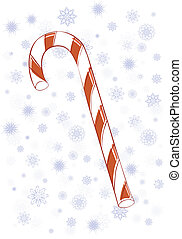 Candy Cane - A candy cane on a snowflake background.