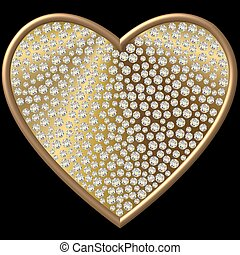 golden diamond heart - diamond heart