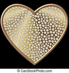 golden diamond heart - diamond heart